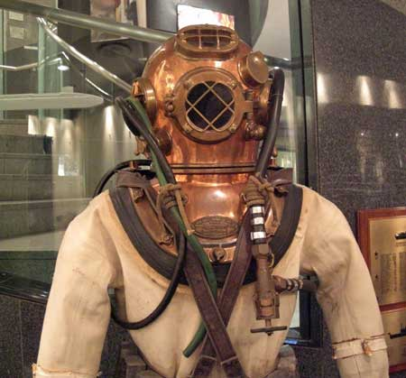 deep-sea diver in old diving suit