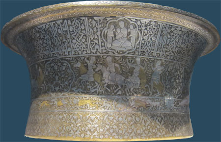 luxurious basin of Christian patron in Islamic world