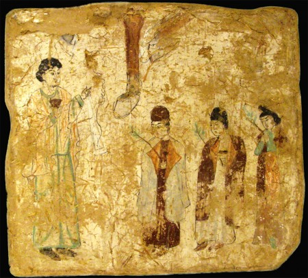Chinese Christians in church at Qoco, perhaps Palm Sunday, late 9th century