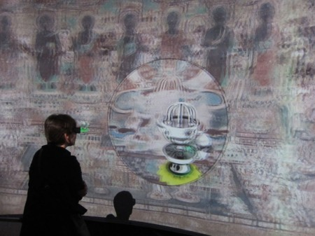 "Dunhuang visualization in Sackler Gallery installation, ""Pure Land: Inside the Mogao Grottoes at Dunhuang"""
