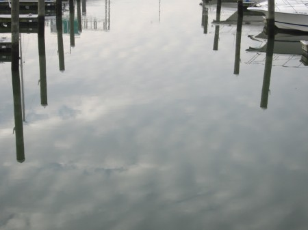 anchored in cloudy water