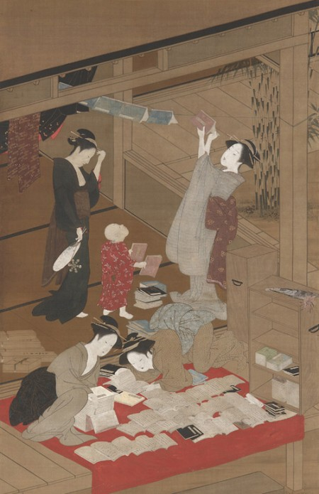 Japanese scroll showing women airing books