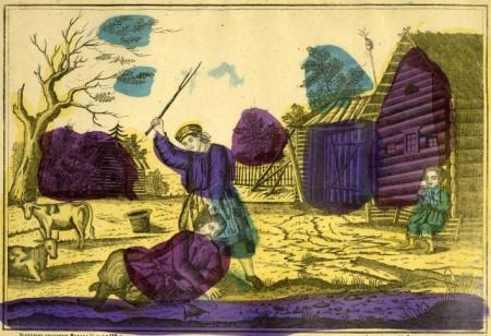 Russian popular print showing wife beating husband