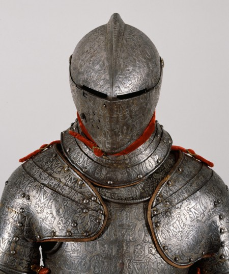 upper body of knight in full combat armor