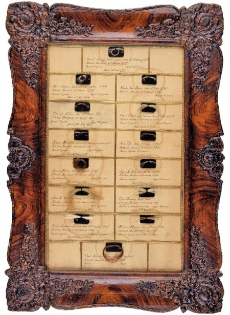 hair samples from first 14 US presidents, collected by John Varden