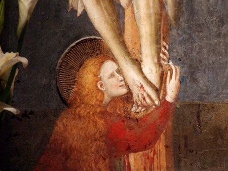 Mary Magdalene kissing Jesus' feet