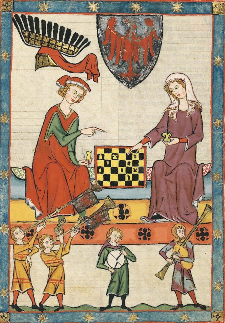 medieval man and woman playing chess
