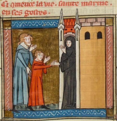 Saint Marina and father entering monastery