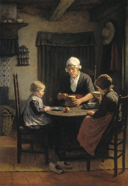 Grandmother and two daughters eating