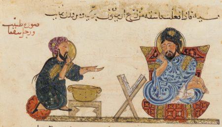 physician treating an ill man (miser)
