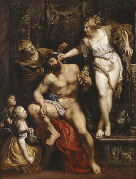 Omphale abusing Hercules